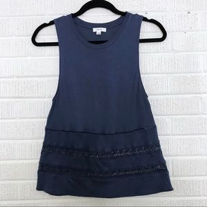 Aritzia Wilfred Lace Inset Tank Top Blue XSmall XS